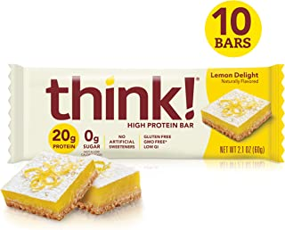 think! (thinkThin) High Protein Bars - Lemon Delight, 20g Protein, 0g Sugar, No Artificial Sweeteners, Gluten Free, GMO Free, 2.1 oz bar (10 Count - packaging may vary)