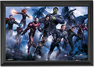 Marvel Avengers Endgame Wall Art Decor Framed Print | 24x36 Premium (Canvas/Painting Like) Textured Poster | Iron Man, Thor & Hulk Infinity War Movie Photo | Memorabilia Gifts for Guys & Girls Bedroom