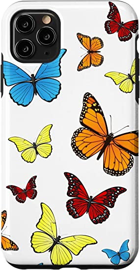 Amazon Com Iphone 11 Pro Max Colorful Butterflies White Background Case