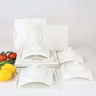 Modern Square White Porcelain Unique Dinnerware Set -20 pieces- service for 4 -by Little White Dish-microwave dishwasher safe (16 piece set)