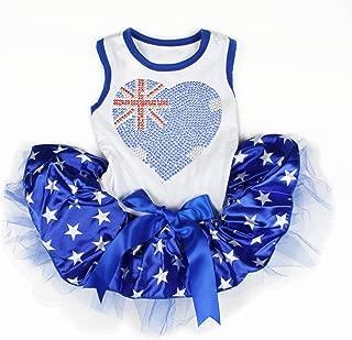 Petitebella Puppy Clothes Dog Dress Bling AU Heart Cotton Shirt Patriotic Star Blue Tutu