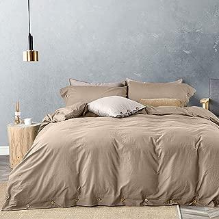 JELLYMONI 100% Washed Cotton Duvet Cover Set Queen Size, Luxury Soft Bedding Set with Button Closure. Solid Color Pattern Duvet Cover(No Comforter) (Khaki, Queen, 3Pcs)
