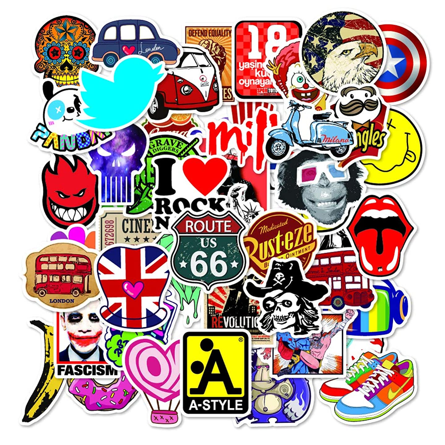 Awesome Sticker Pack [100pcs] Amazing Sticker Decals Waterproof Vinyls for Laptop Cars Motorcycle Snowboard Skateboard Luggage PC Computer Phone Hippe Helmet Kids,Teens,Adults-No duplicated Sticker E