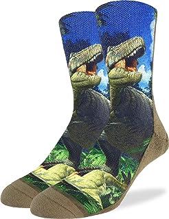 Good Luck Sock Men's Tyrannosaurus Rex Dinosaur Socks - Brown, Shoe Size 8-13