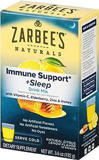 Zarbee's Naturals Immune Support & Sleep Drink Mix with Melatonin, Natural Lemon Citrus Flavor, 10 Packets