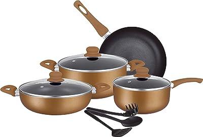 INSIYA Pressed Non-Stick Aluminium 10 Pcs Cookware Set Bronze, Pans and Pots Set with Glass Lids,Dishwasher Safe and Induction Bottom, 10-Piece, Insiya Aluminium Bronze 10, SV17