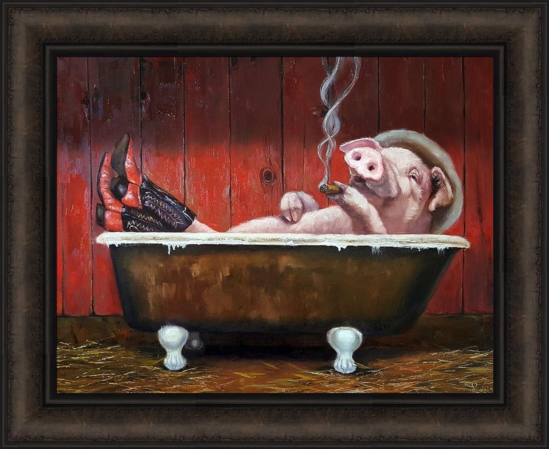 Hog Heaven by Lucia Super intense SALE Heffernan 18x22 in Cowbo Bathtub Wearing Pig Year-end gift