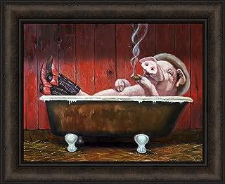 Hog Heaven by Lucia Heffernan 18x22 Pig in Bathtub Wearing Cowboy Boots and Hat Smoking Cigar Funny Humorous Bathroom Bath Framed Art Print Picture
