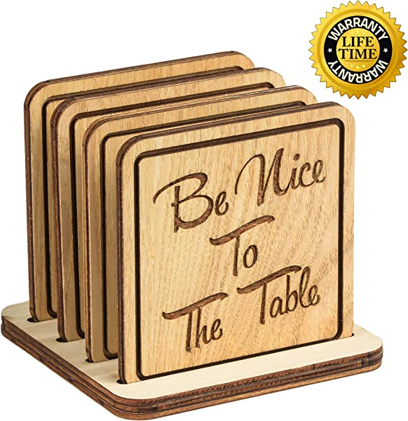 Navady Natural Wood Coasters With Holder Set Of 4 3 9 X 3 9 Inches Table Wooden Coasters For Drinks Protect Home Kitchen Tables Office Desks Perfect Housewarming Gifts Cute Quote