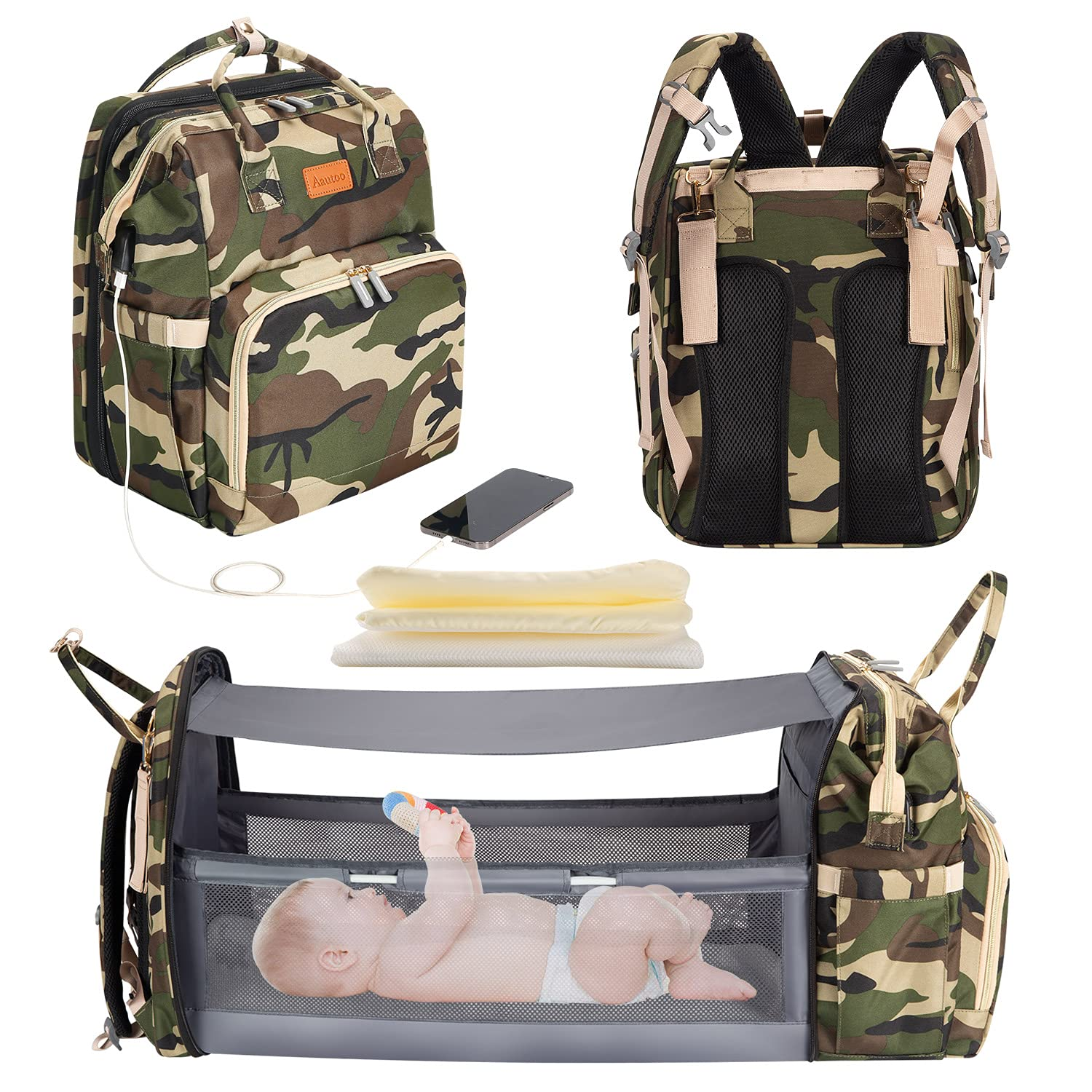 5 in 1 Diaper Bag Backpack Portable Crib Mummy Bag Bed Waterproof Travel Bag with USB Charge Baby Changing Bag