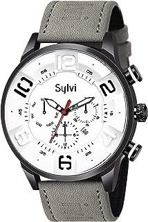 Alboss White Dial Grey Strap Sylvi Analogue Designer Wrist Watch for Men