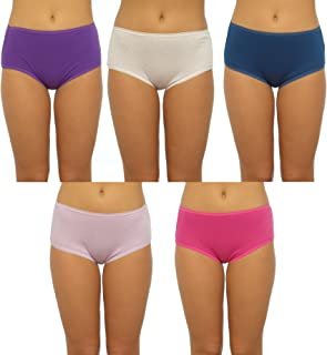 NEW 5 PACK LADIES COTTON BRAZILIAN BRIEFS LACE PANTS KNICKERS UNDERWEAR 12-18