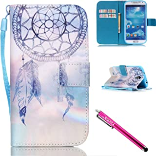 Galaxy S4 Case, Galaxy S4 Wallet Case, Firefish [Kickstand] PU Leather Flip Purse Case Slim Bumper Cover with Lanyard Magnetic Skin for Samsung Galaxy S4 i9500 + including One Stylus-Dreamnet