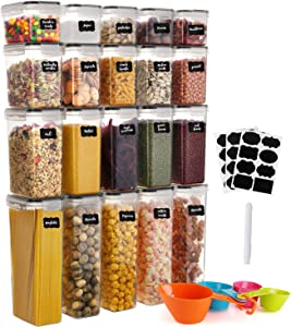 GoMaihe Food Storage Containers 20-Piece, Plastic Food Storage Containers with lids Airtight, Cereal Containers Storage set Suitable for Food, Cereal, Kitchen Pantry Organization and Storage, Black
