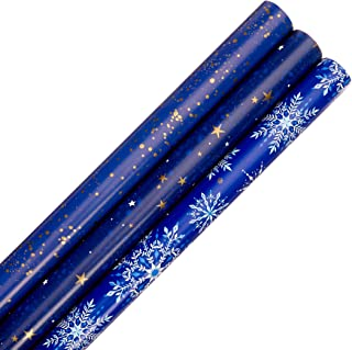 Hallmark Holiday Wrapping Paper with Cut Lines on Reverse (3 Rolls: 120 sq. ft. ttl) Starry Snowflakes, Winter Galaxy, Nav...