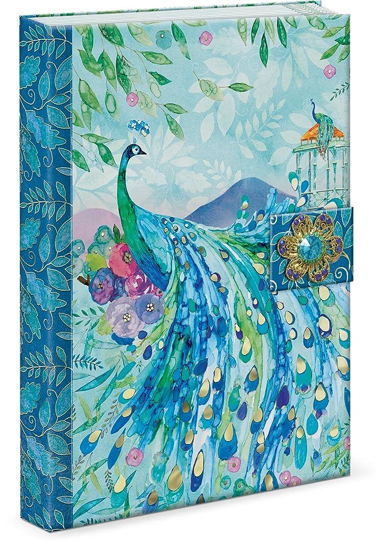 パンチスタジオ ブローチ付き ジャーナルノート マグネット式 (孔雀×ブルー) パゴタ ピーコック 45903