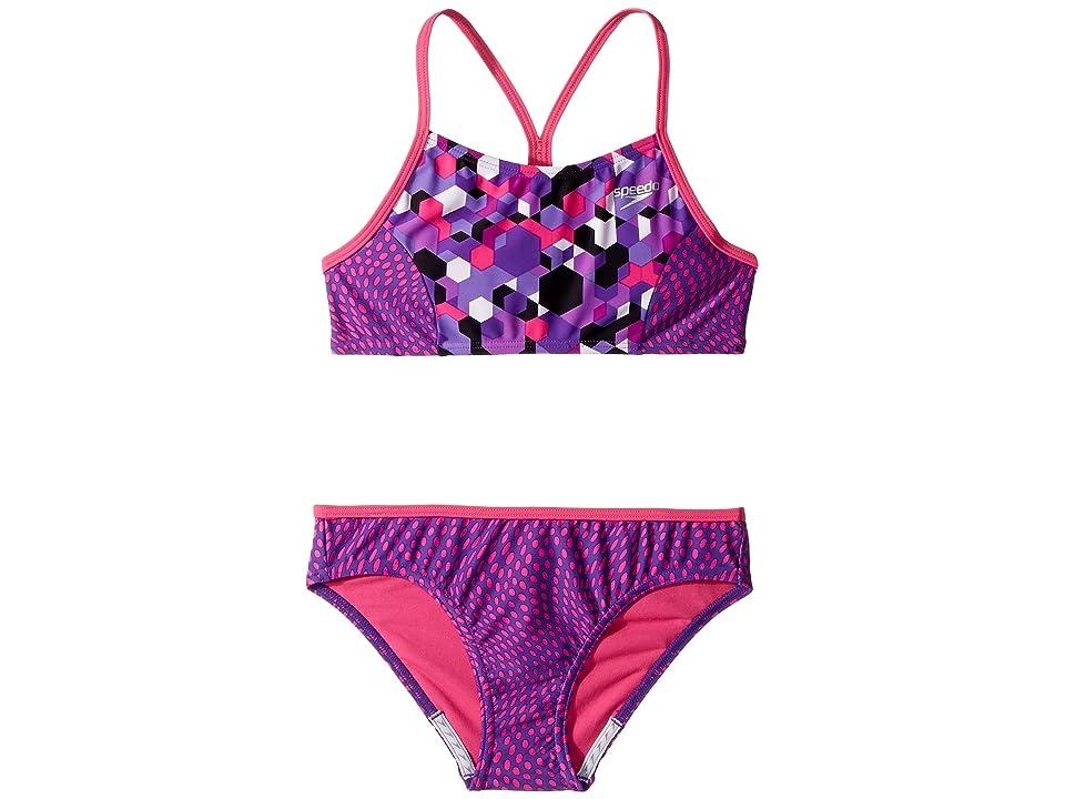 Speedo Kids Diamond Geo Splice Two-Piece Swimsuit (Big Kids) (Speedo Purple) Girl