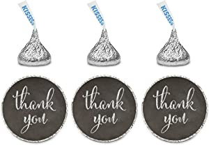 Andaz Press Chocolate Drop Labels Stickers, Thank You, Vintage Chalkboard Print, 216-Pack, for Wedding Birthday Party Baby Bridal Shower Kisses Party Favors Decor Envelope Seals