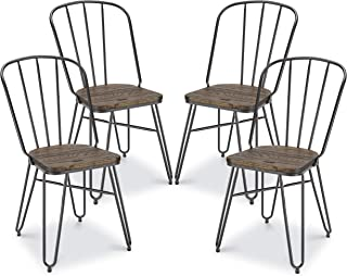 Poly and Bark Porter Metal Dining Chair, Elm Wood Seat with Charcoal Grey Legs (Set of 4)