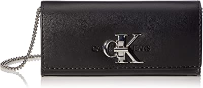Calvin Klein Jeans Clutch W/Chain, Embrague con Cadena para Mujer, Black, 28 Inches, Extra-Large
