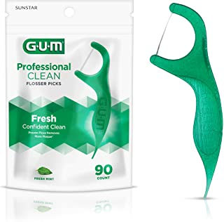 GUM - 893F Professional Clean Flossers Extra Strong Flosser Pick, Fresh Mint, 90 Count
