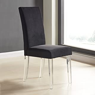Armen Living Dalia Modern and Contemporary Dining Chair (Set of 2), Black/Acrylic Finish