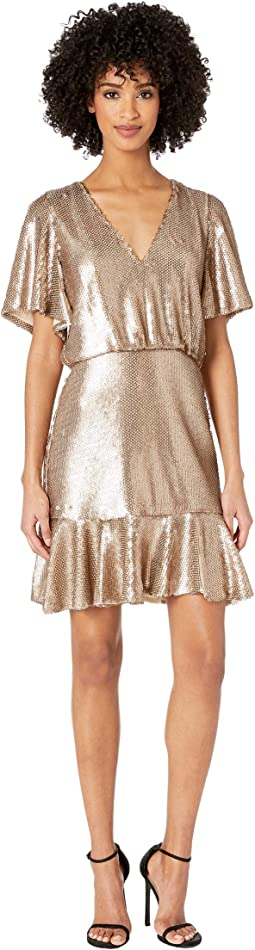 Short Sleeve Sequins Cocktail Dress