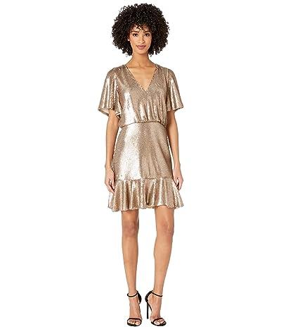 ML Monique Lhuillier Short Sleeve Sequins Cocktail Dress (Gold) Women