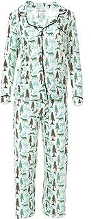 KicKee Womenswear Print Long Sleeve Collared Pajama Set | Winter Celebrations 2019 Collection | (L, Natural Woodland Holiday)