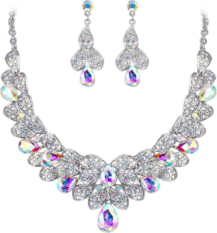BriLove Women's Bridal Jewelry Set for Weddings Rhinestone Beaded Layer Teardrop Cluster Crystal Statement Necklace Dangle Earrings