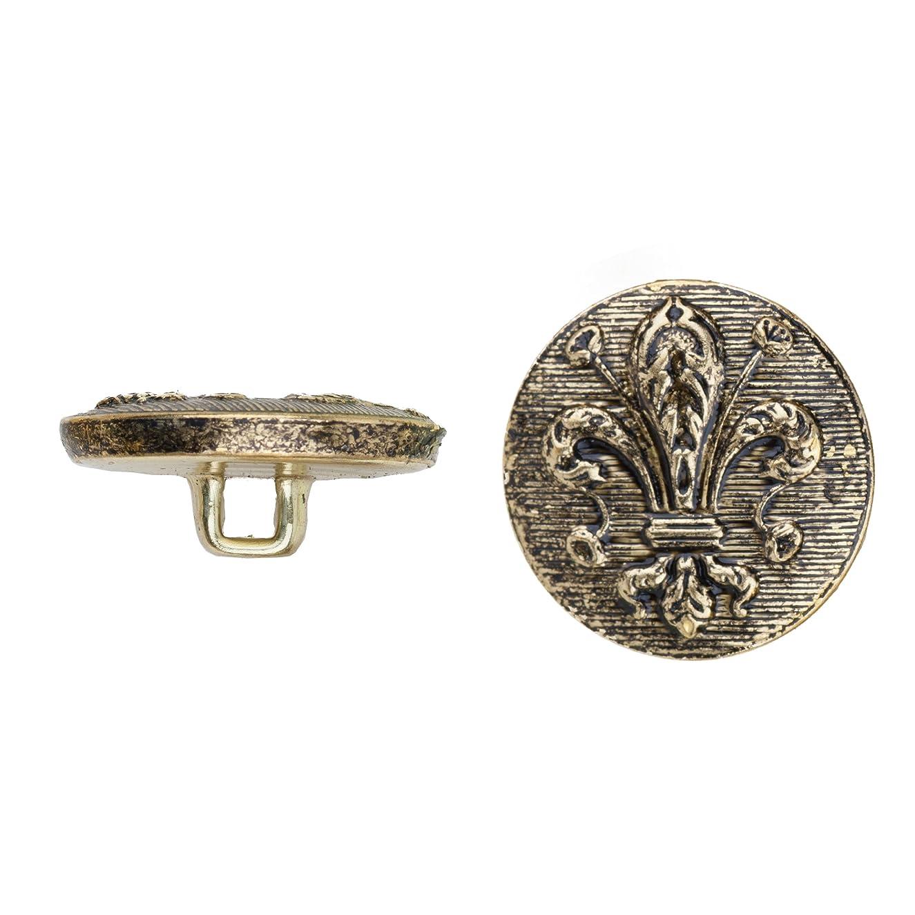 C&C Metal Products 5040 Fleur De Lis Metal Button, Size 30 Ligne, Antique Gold, 36-Pack