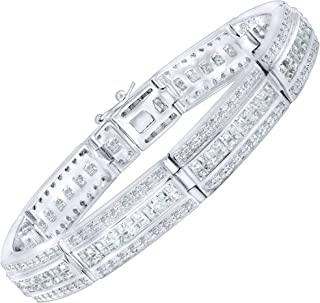 Men's Elegant Sterling Silver .925 Bracelet with 336 Highest Quality Channel-Set Simulated Diamond Princess-Cut Cubic Zirconia (CZ) Stones, Secure Box Lock, Platinum Plated. Available in sizes 8