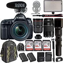 Canon EOS 5D Mark IV DSLR Camera w/EF 24-70mm f/2.8L II USM Lens +Canon EF 75-300mm+ Rode VideoMic Pro Plus + Professional Bi-Color LED Video Light & Accessories