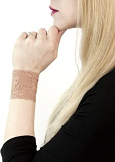 Short Lace Wrist Cuff Bracelet (Tan) Stretch for Women