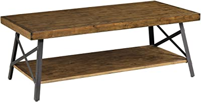 Amazon Com Emerald Home Chandler Rustic Industrial Solid Wood And Steel Coffee Table With Open Shelf Furniture Decor