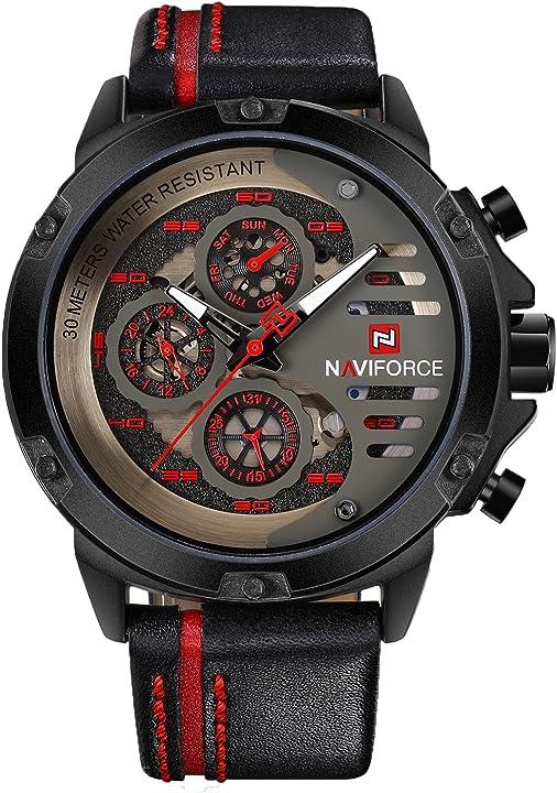 Orologio militare naviforce sportivo da uomo orologio da polso al quarzo in pelle impermeabile NF-9110