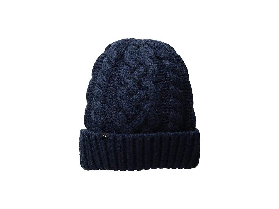Plush Hand Knit Vegan Cashmere Hat (Navy) Beanies