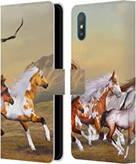 Offizielle Simone Gatterwe Wilde Herden Pferde Leder Brieftaschen Handyhülle Hülle Huelle kompatibel mit Xiaomi Redmi 9A / Redmi 9AT