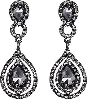 BriLove Women's Wedding Bridal Crystal Teardrop Infinity Chandelier Dangle Earrings