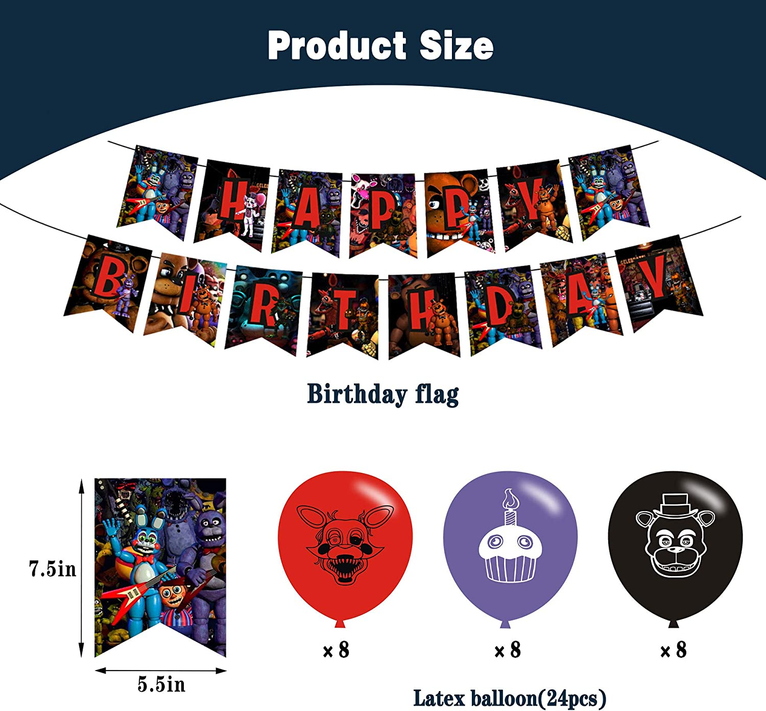 Five Nights at Freddy Party Supplies Set Cake Topper Birthday Party Decorations Banner 24 Cupcake Toppers 24 Latex Balloons Including 58pcs Waterproof Vinyl Stickers