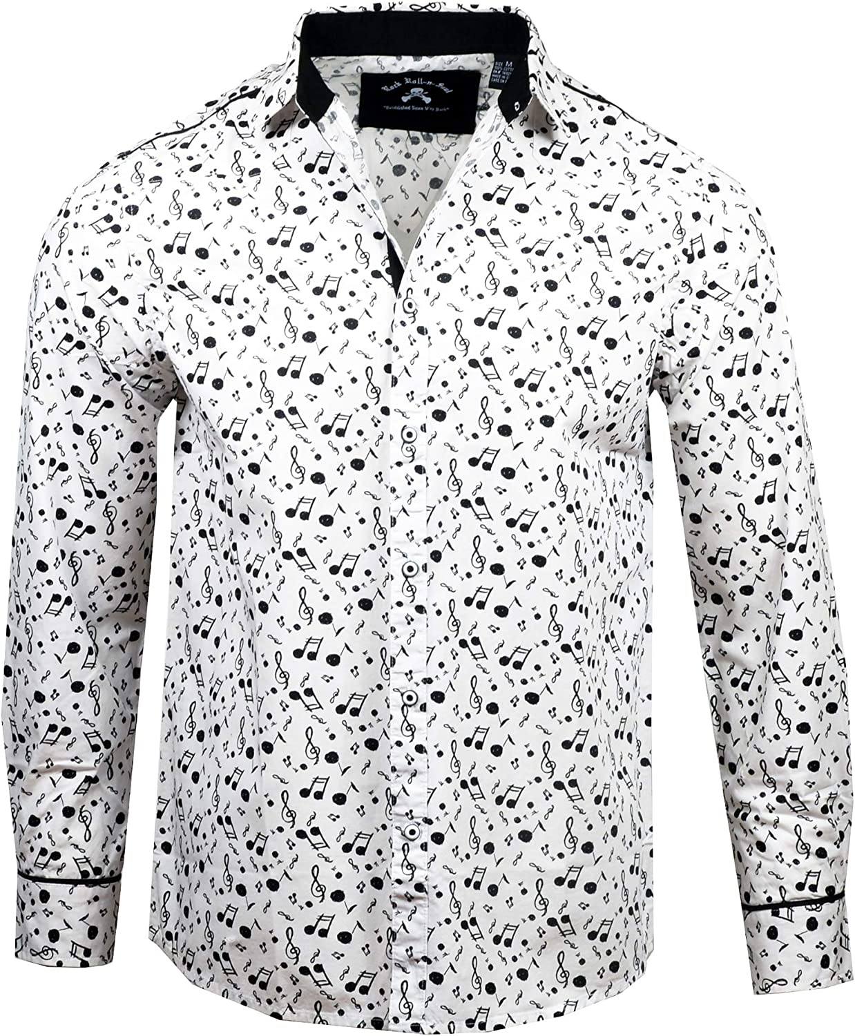 Rock Roll n Soul Men's Fashion Music on My Mind Patterned Long Sleeve Button-Up Shirt
