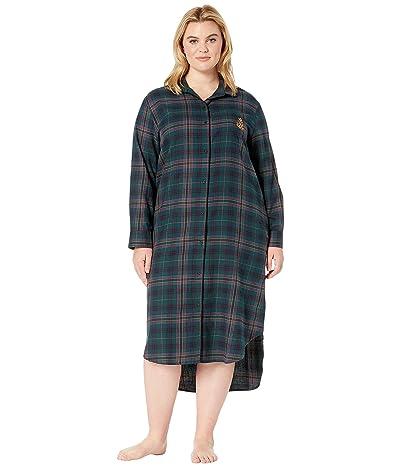 LAUREN Ralph Lauren Plus Size Brushed Twill Long Sleeve Rounded Notch Collar Ballet Sleepshirt (Green Plaid) Women