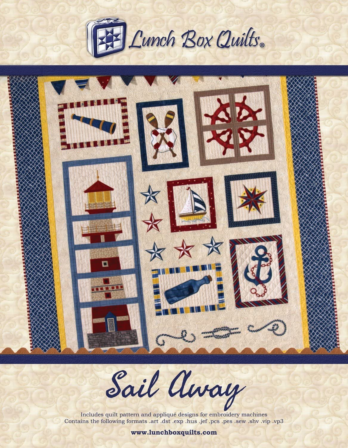 Lunch Year-end gift Box Quilts Sail Away wit Embroidery Quilt Louisville-Jefferson County Mall Pattern Applique