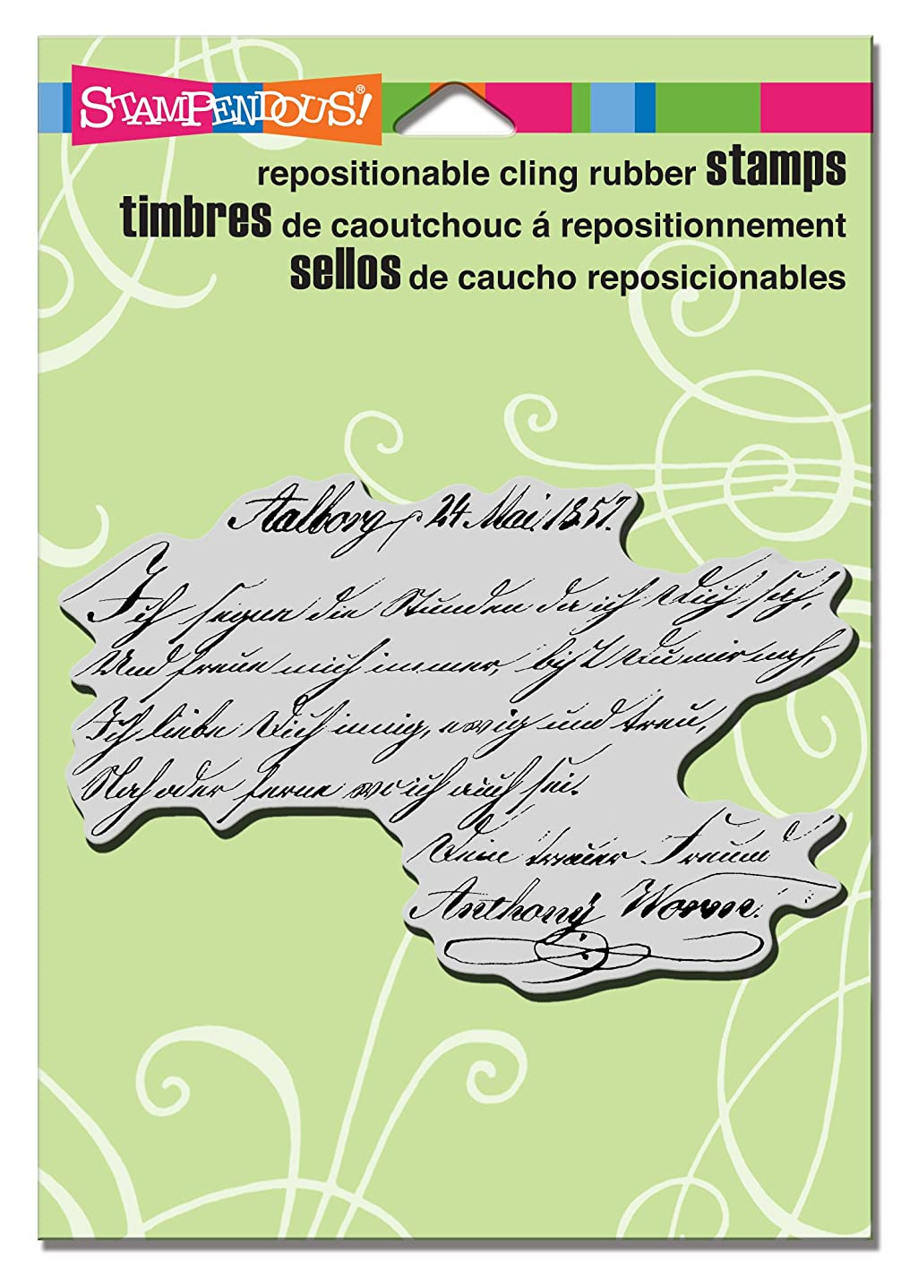 STAMPENDOUS Cling Rubber Stamp, Script Lines