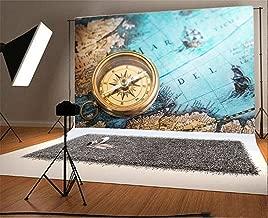 Laeacco 8x6.5FT Vinyl Backdrop Photography Background Old Compass Vintage Map Adventure Stories Background Retro Style Global Travel Theme Background Personal Portrait Shoot Photo Studio Prop