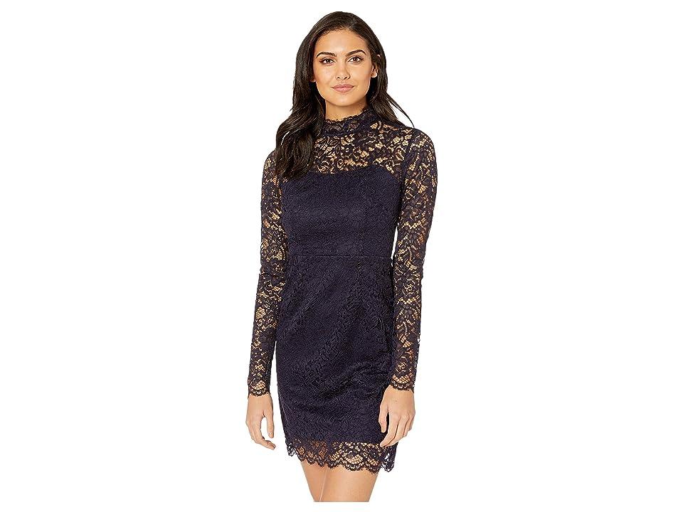 Betsey Johnson Long Sleeve Mock Neck Lace Dress (Navy) Women