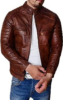 Men Vintage Motorcycle Rider Cafe Racer Retro Brown Biker Genuine Leather Gold Dark Distressed Jacket