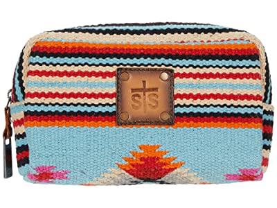 STS Ranchwear Saltillo Bebe Cosmetic Bag (Light Blue/Orange/Pink) Bags
