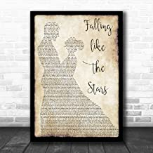 Falling Like The Stars Man Lady Dancing Song Lyric Quote Music Poster Gift Present Art Print
