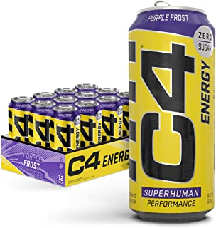 C4 Original Sugar Free Energy Drink | Purple Frost | Pre Workout Performance Drink with No Artificial Colors or Dyes , 16 ...